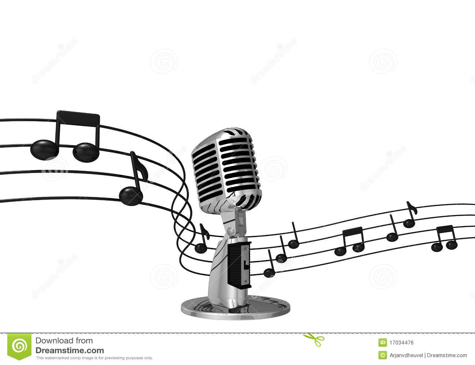 Microphone Classique Avec Des Notes De Musique Sur Le Fond