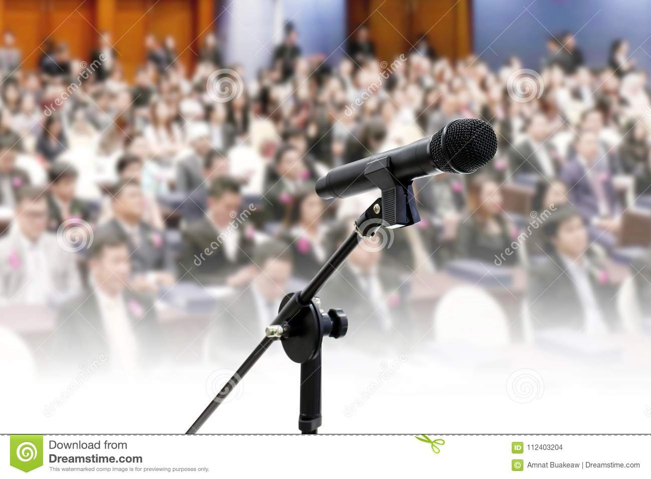 Microphone on Blurred many people seminar Meeting room business big hall Conference background