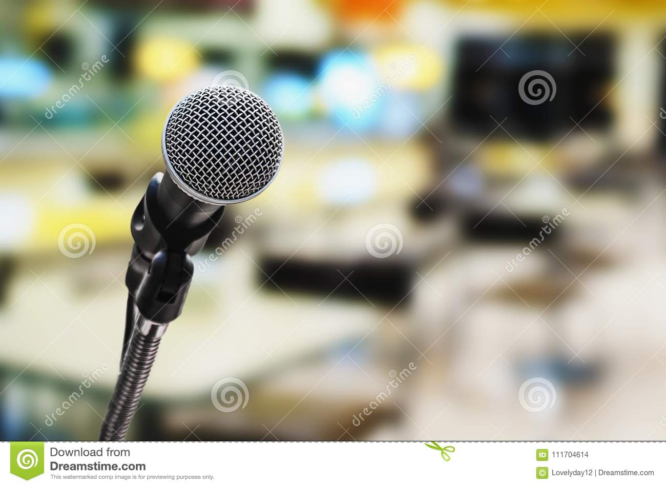 Microphone In Conference Room With Blur Light Stock Photo - Image of