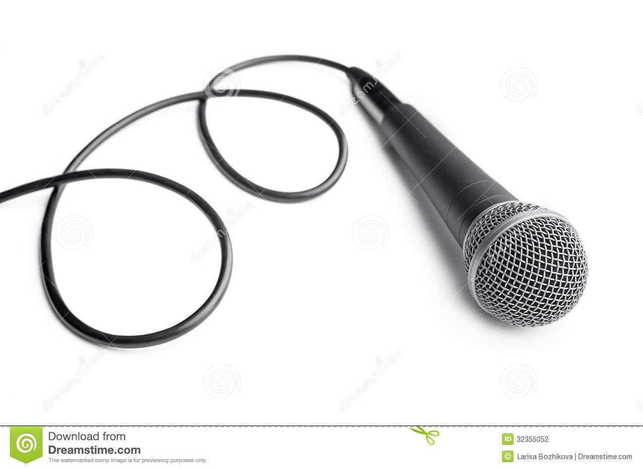 Microphone With Cord : Microphone with curly cable stock photography image