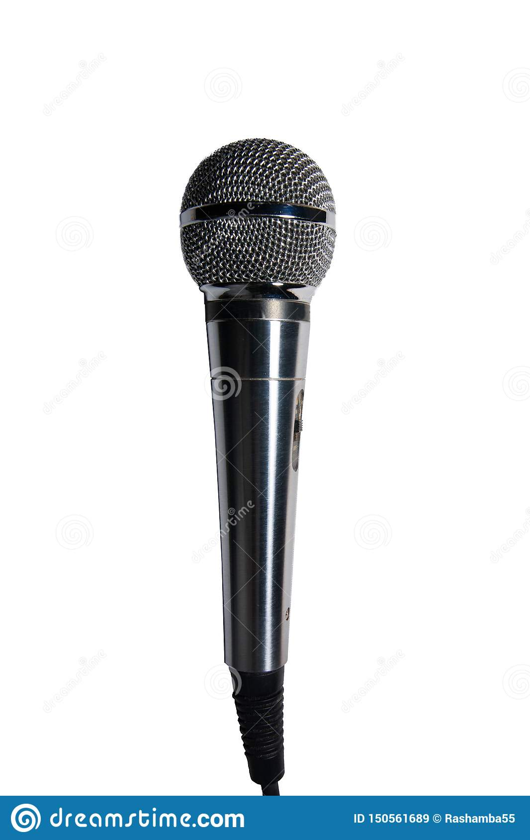Microphone d acier au chrome d isolement sur un fond blanc