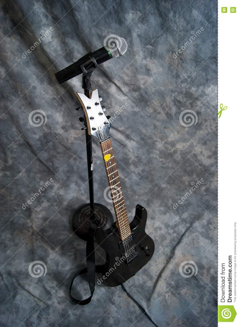 microphone and electric guitar stock photo image 20225100. Black Bedroom Furniture Sets. Home Design Ideas