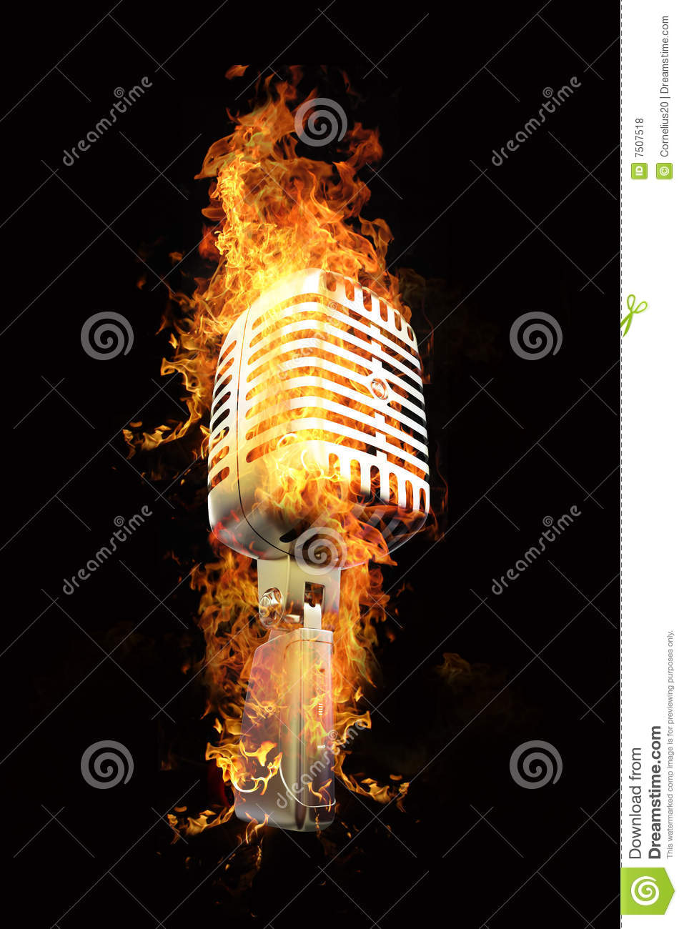 Microphone in flames