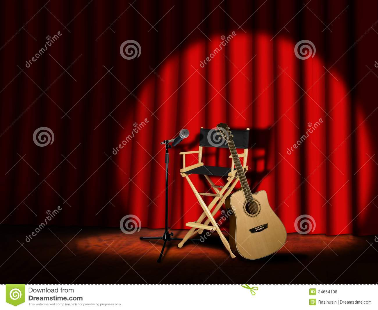 Microphone and Guitar on stage with Curtain