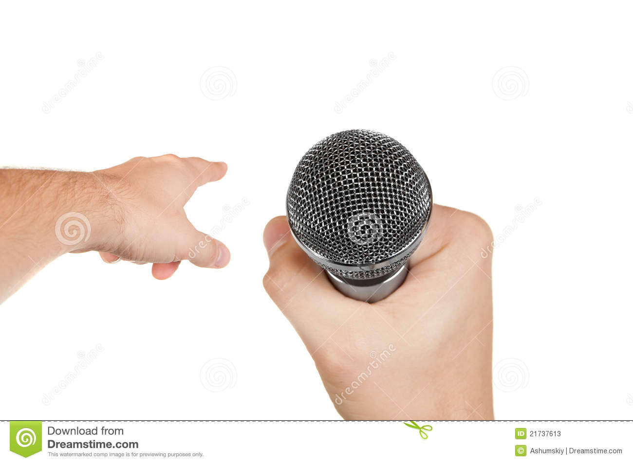 Microphone In Hand : Microphone in a hand stock photos image