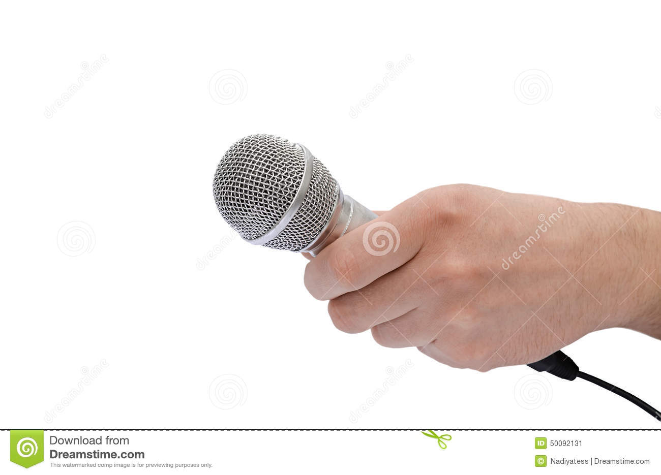 Microphone In Hand : Microphone in a hand stock photo image