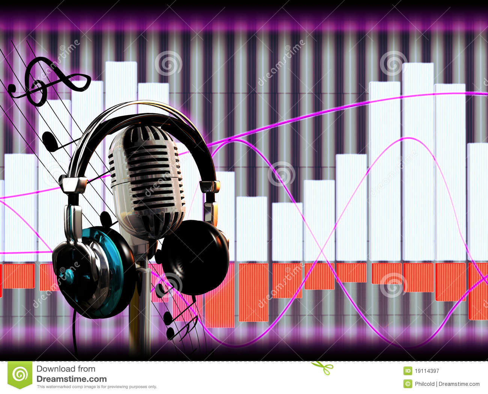 Headphones Music Microphones 4500x4100 Wallpaper: Microphone And Headphones Stock Illustration. Image Of