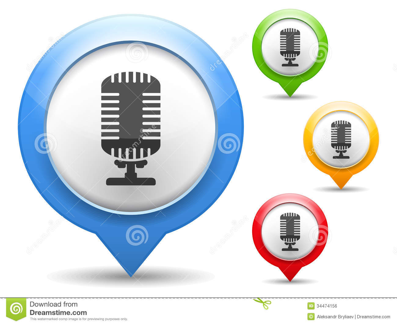 Microphone Icon stock vector. Illustration of button - 34474156
