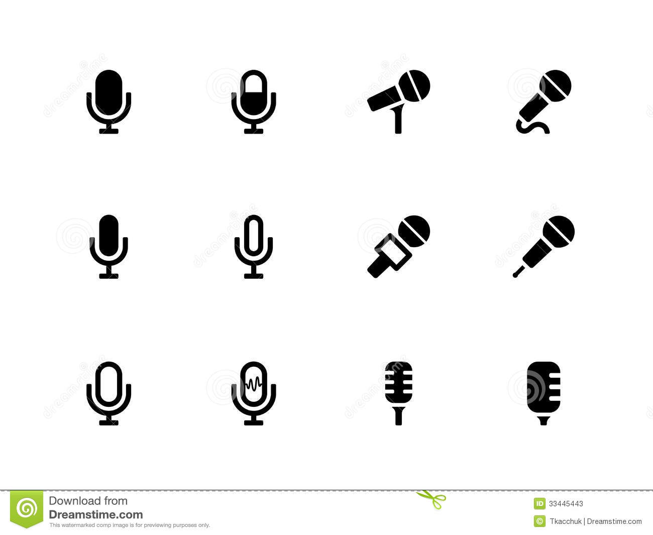 Microphone Icons On White Background. Stock Vector - Illustration of ...