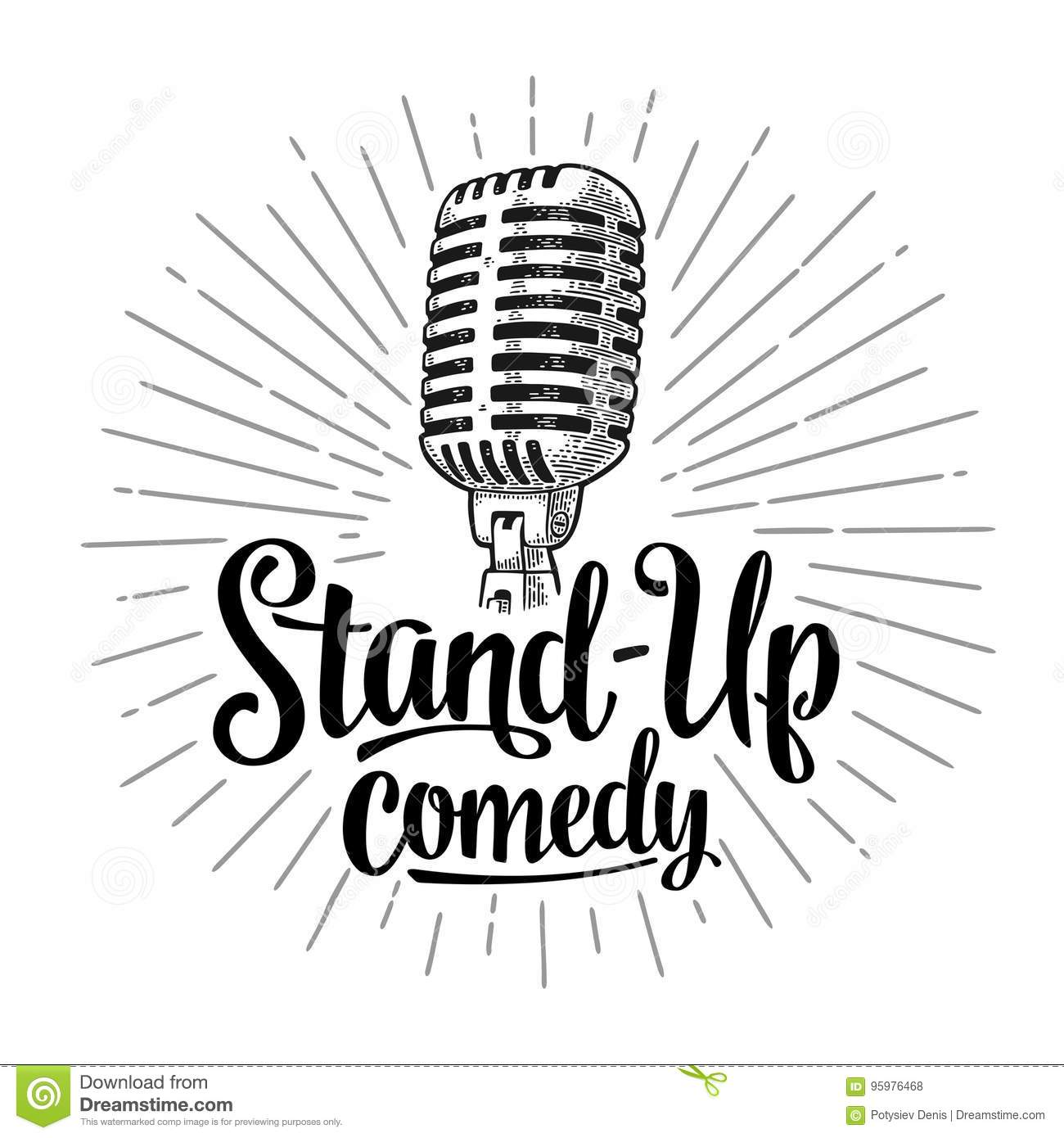 Microphone. Lettered text Stand-Up comedy. Vintage engraving illustration
