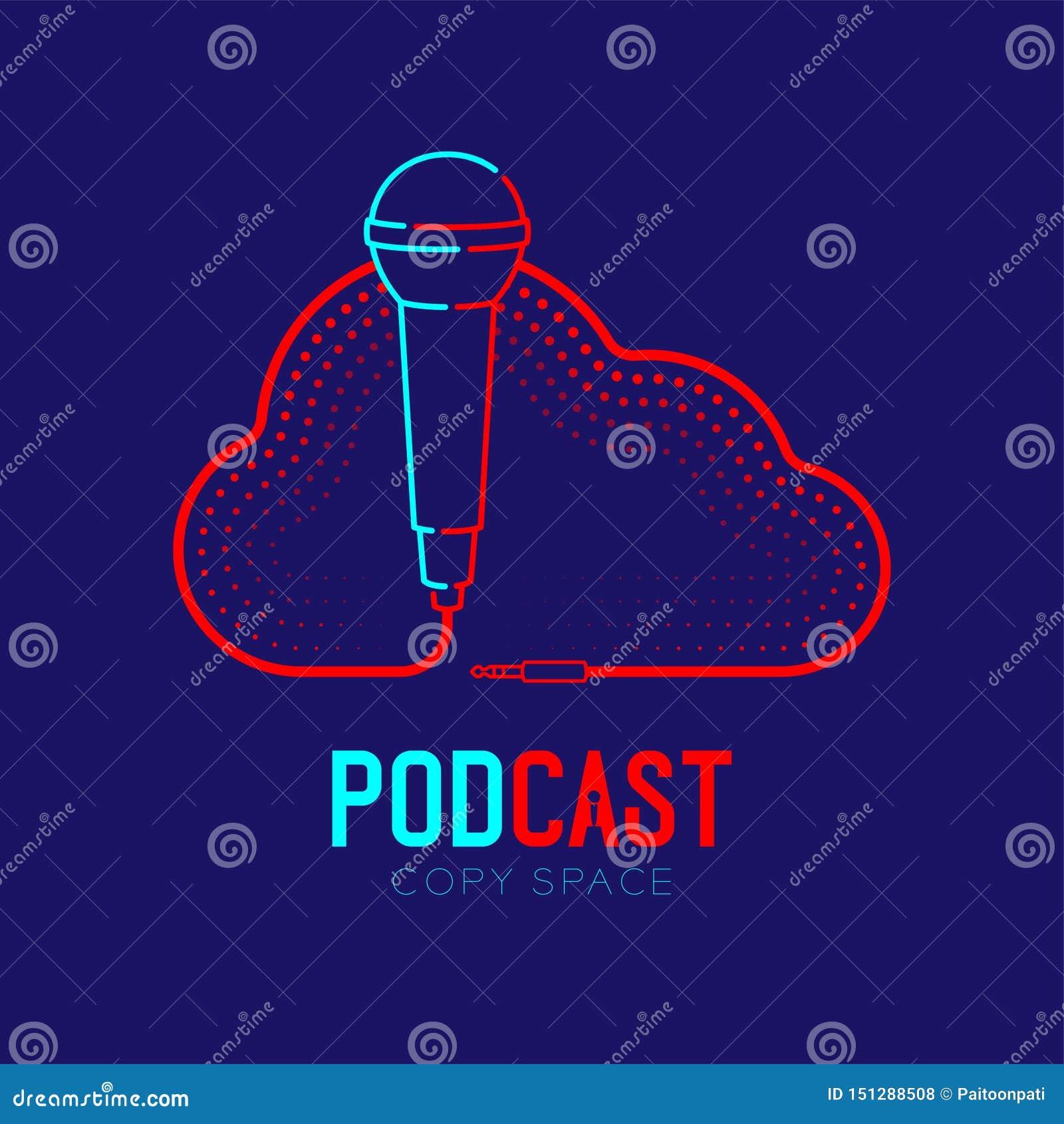 Microphone logo icon outline stroke with Cloud shape frame cable dash line design, podcast internet radio program concept