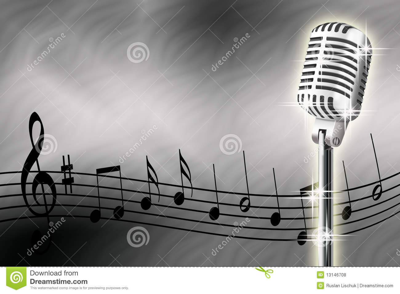 Illustration of microphone and musical notes on a white background.