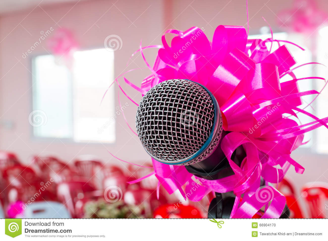 Microphone With Pink Bow And Ribbon In Wedding Ceremony