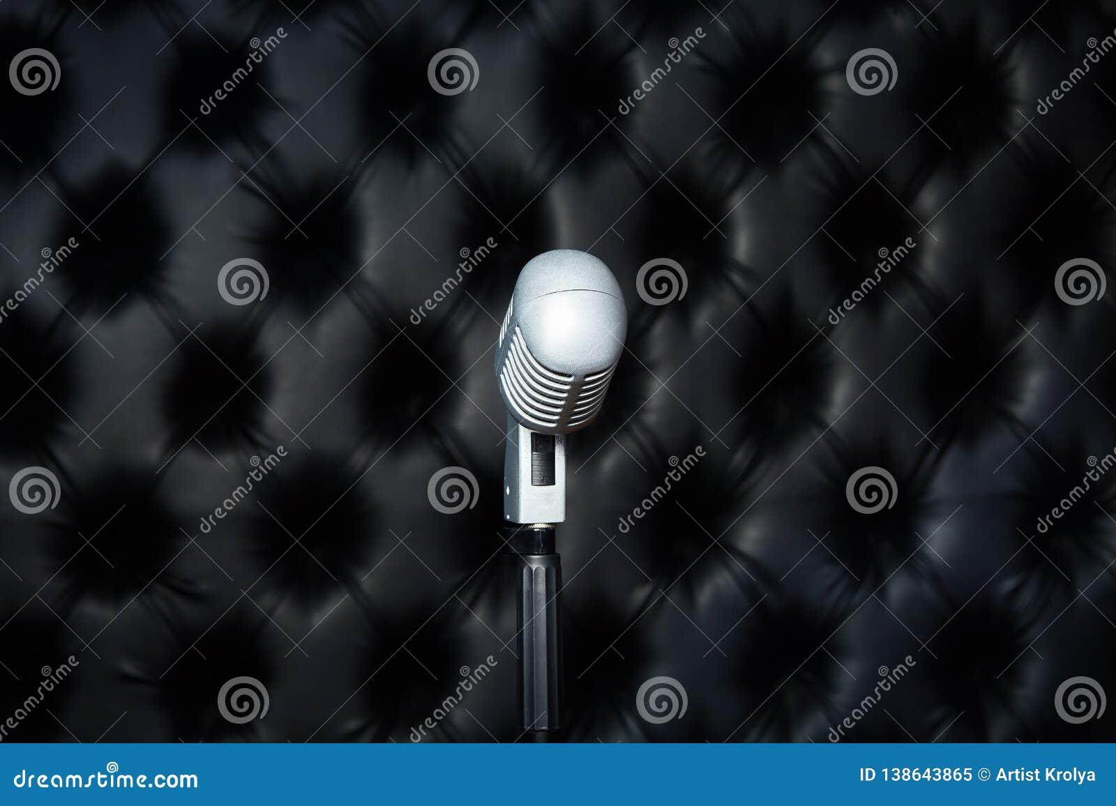 Microphone in a recording studio. Sound recording studio.