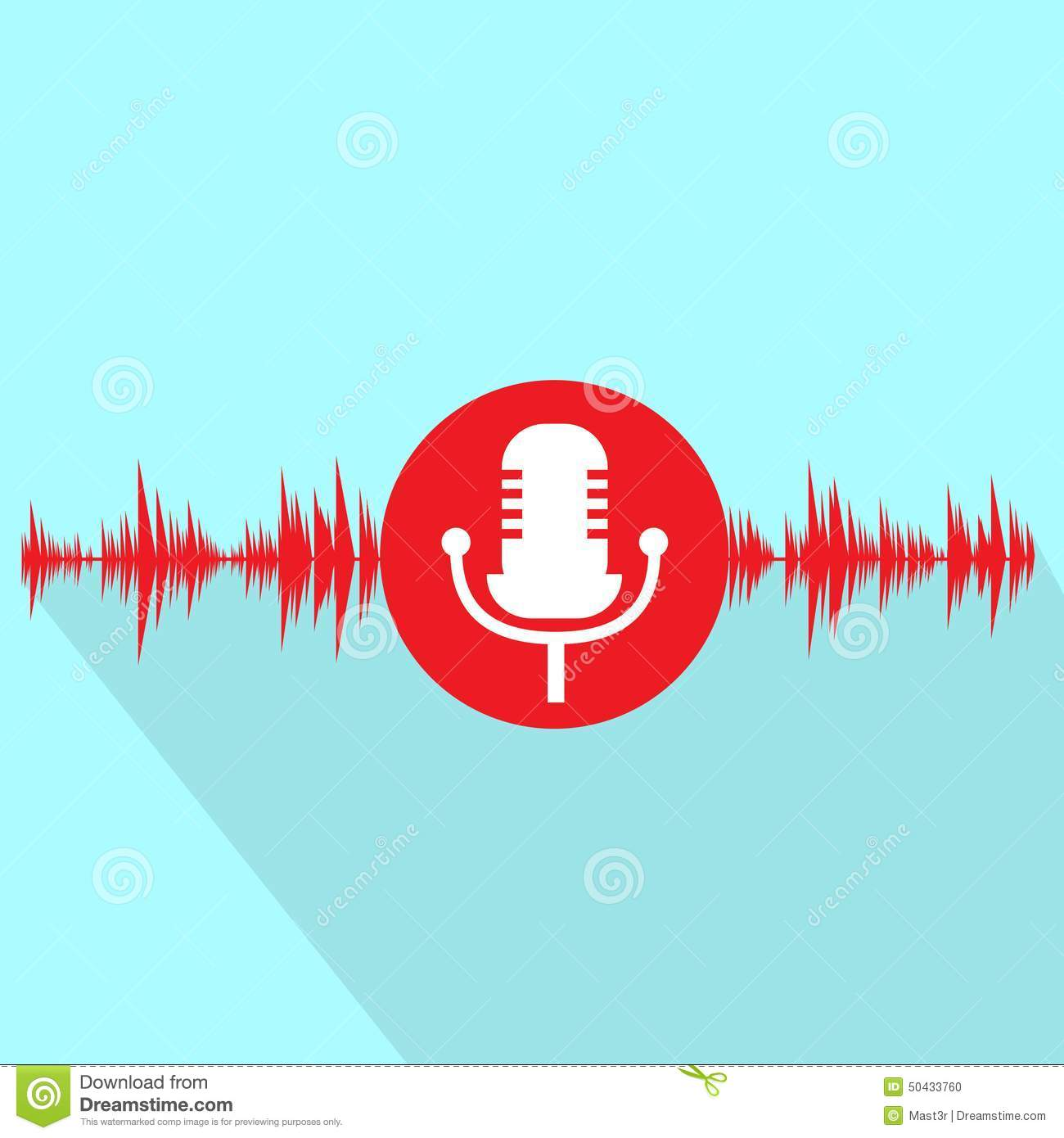 Microphone red icon with sound wave flat design