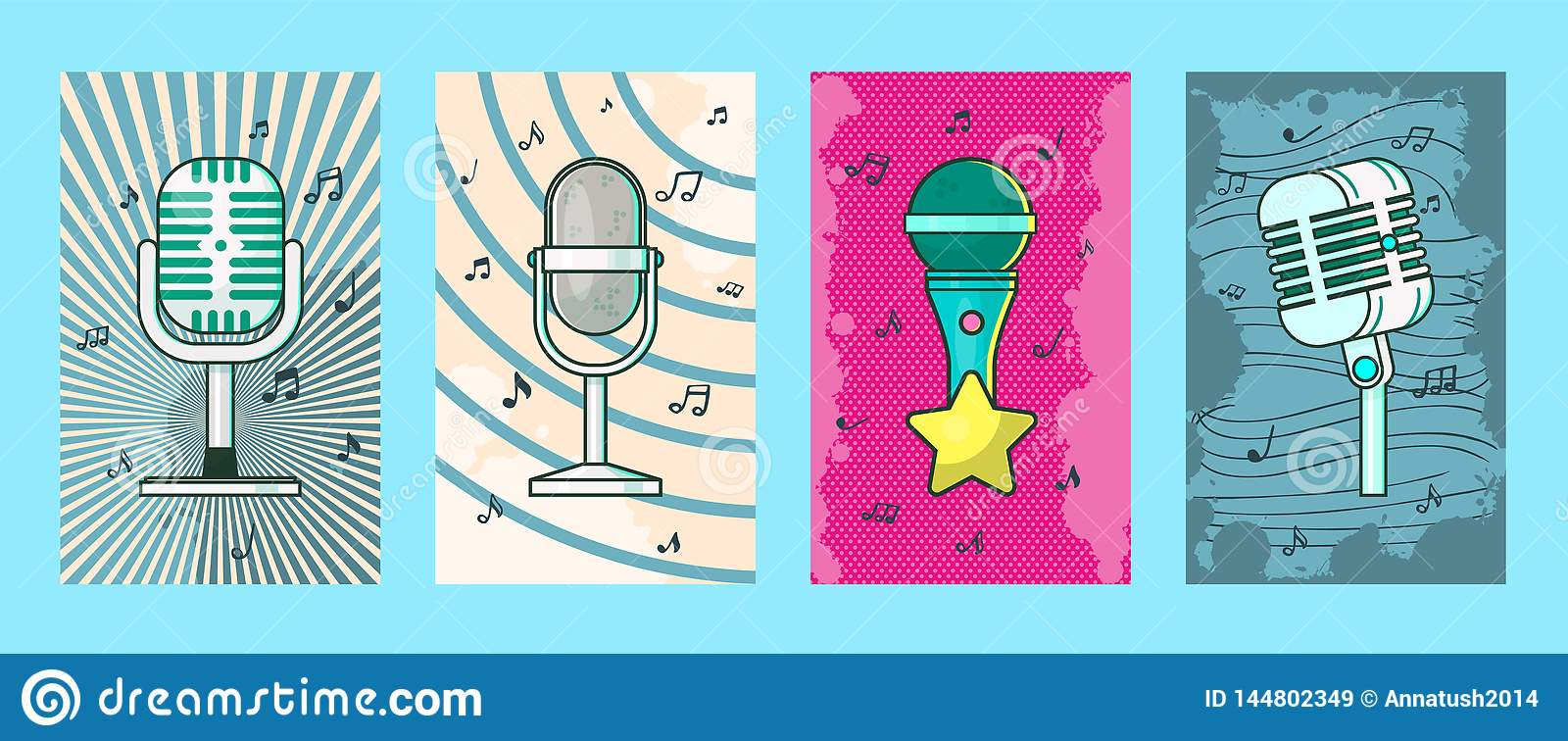 Microphone Set Of Cards, Posters Vector Illustration  Retro Music