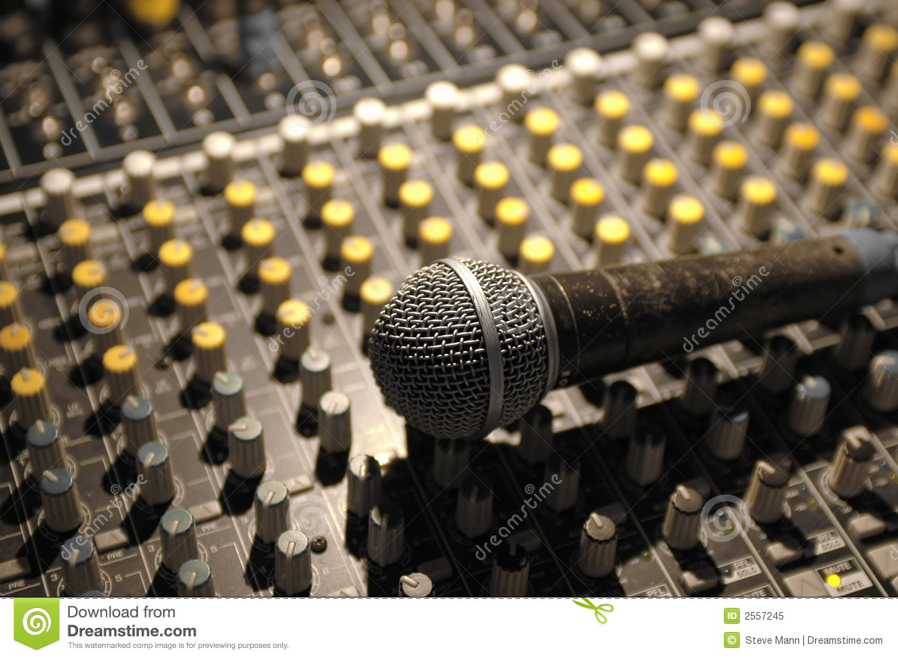 Microphone and soundboard stock image  Image of music - 2557245