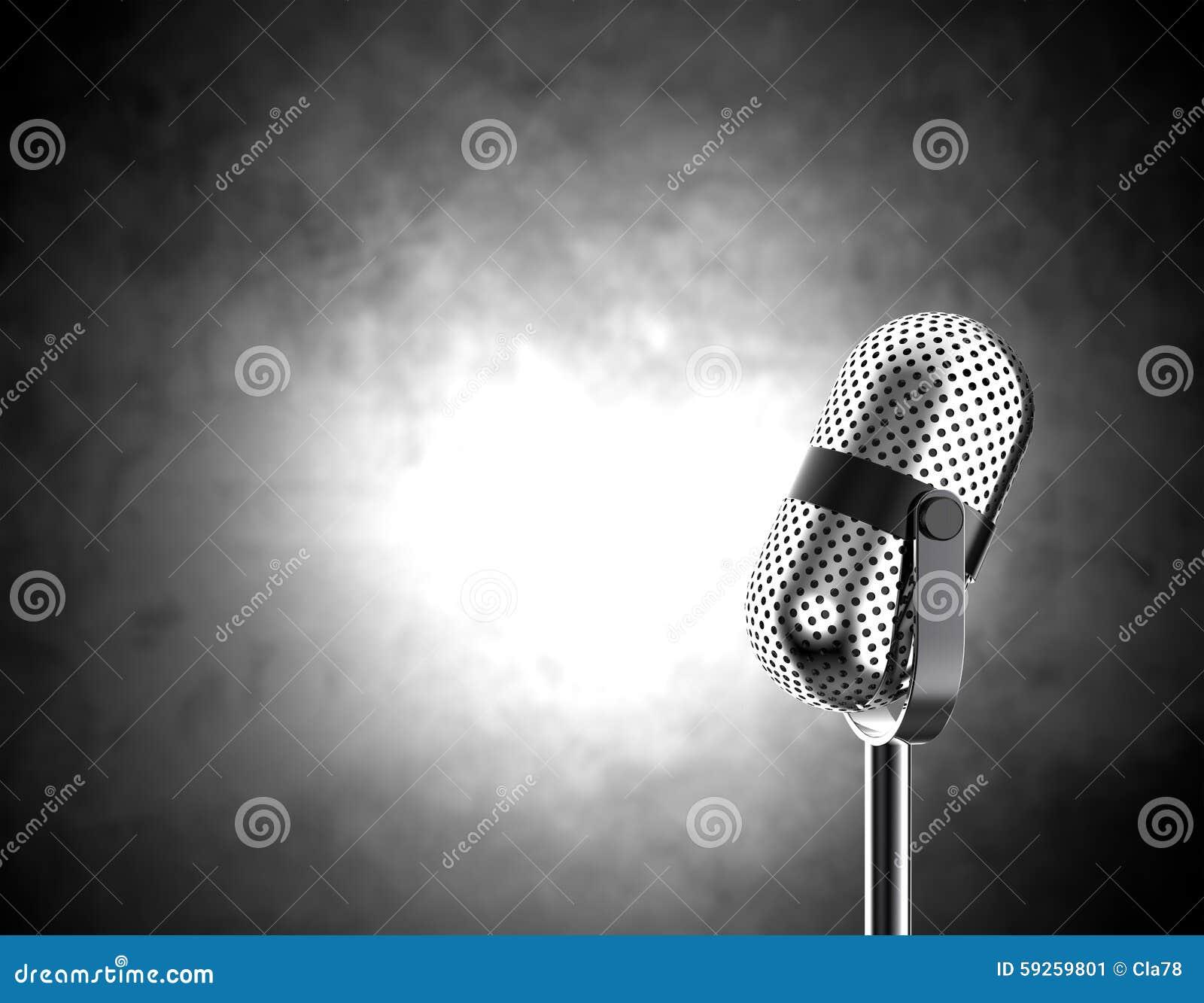 microphone sur noir et blanc illustration stock. Black Bedroom Furniture Sets. Home Design Ideas