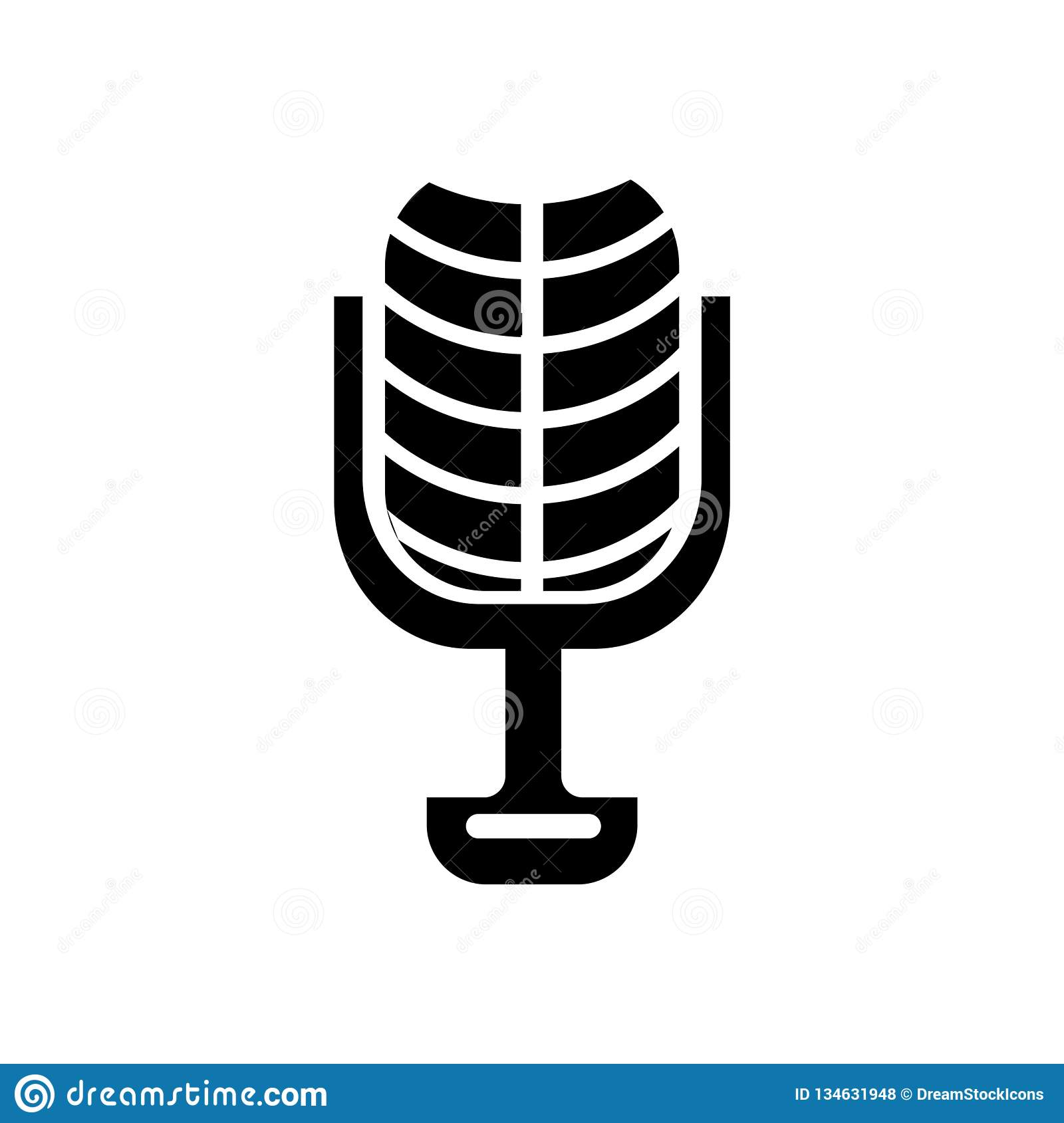 Microphone of vintage design icon vector sign and symbol isolate