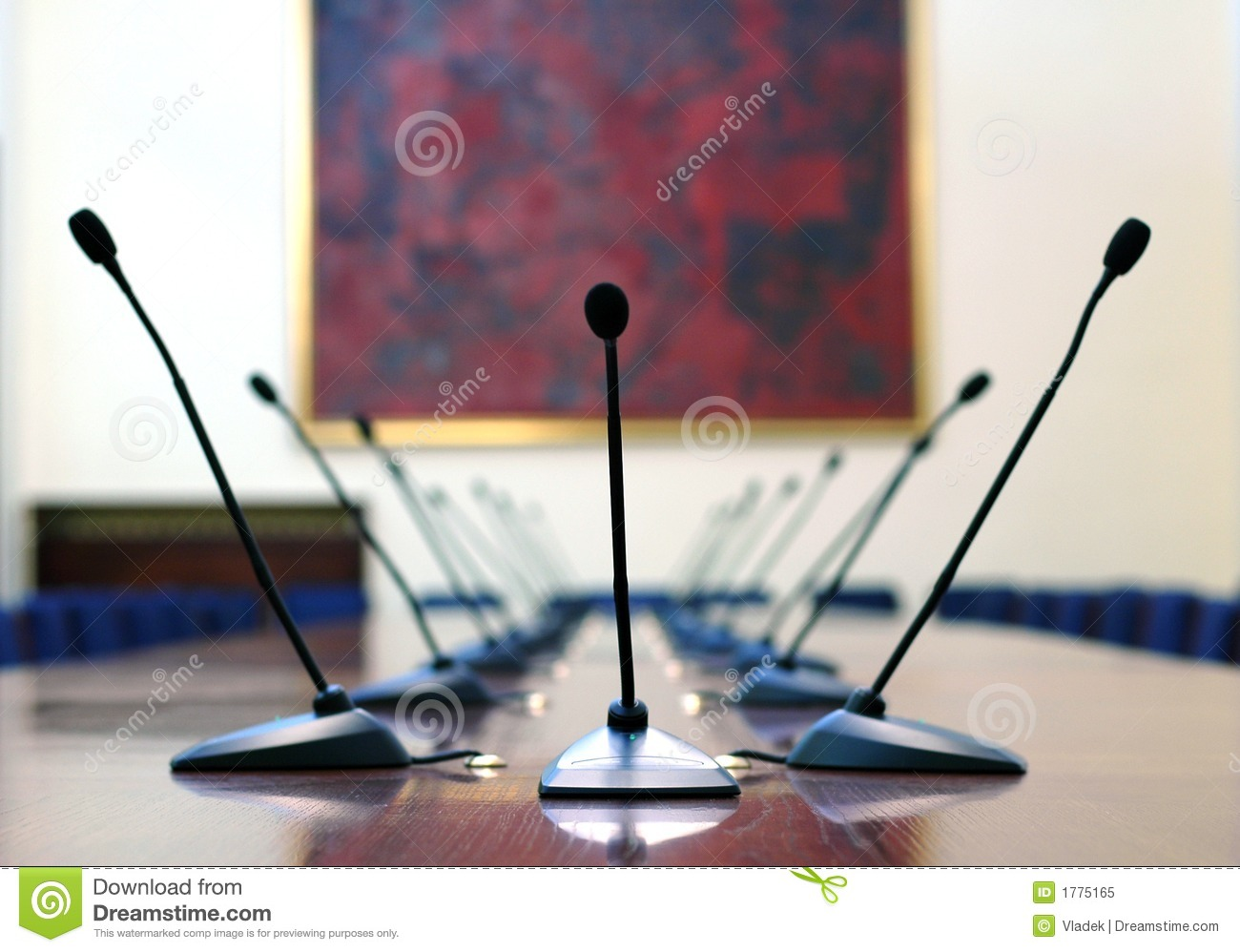 Microphones In The Empty Conference Room Royalty Free