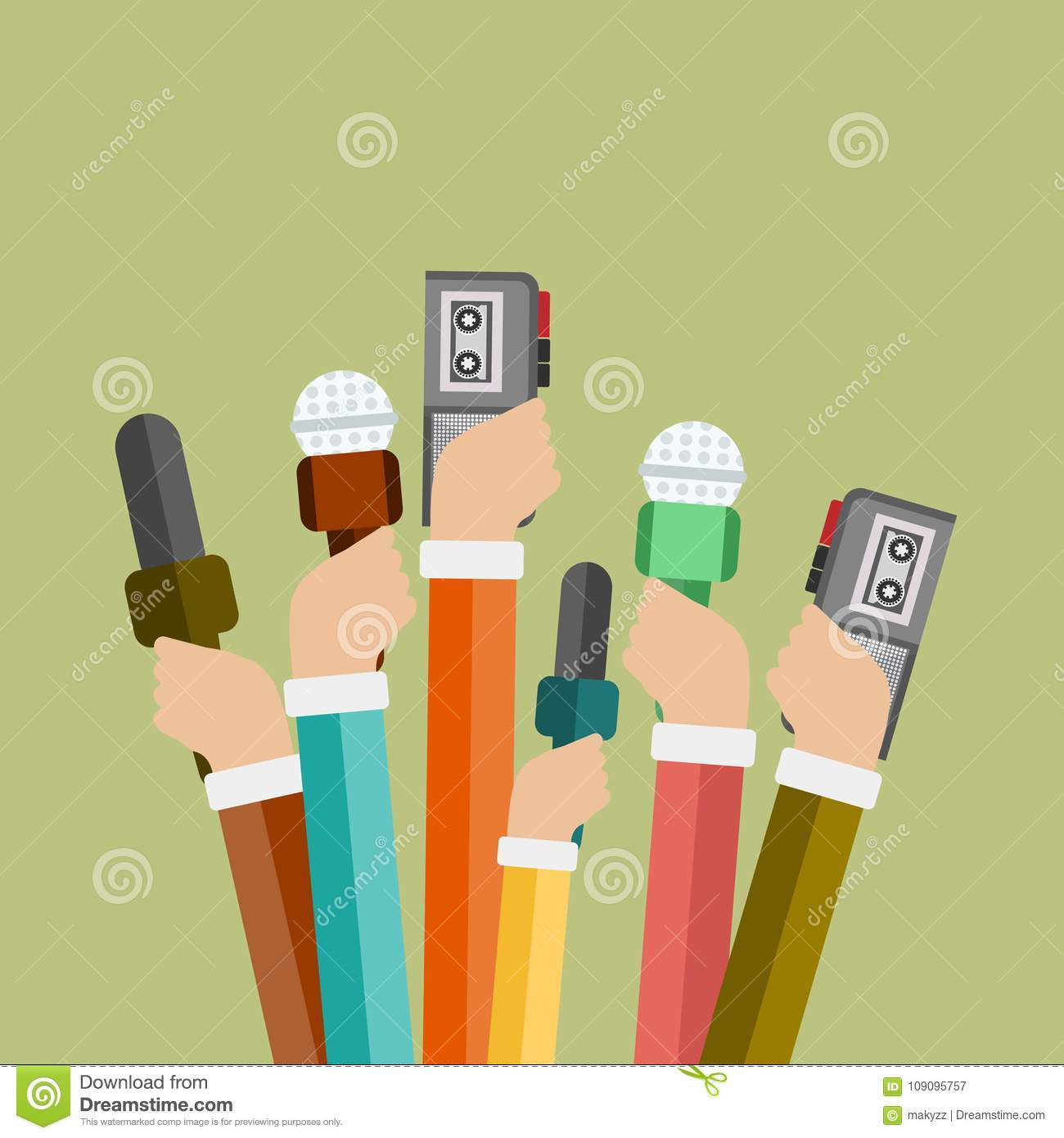 Microphones in reporter hands. Set of microphones and recorders isolated on blue background
