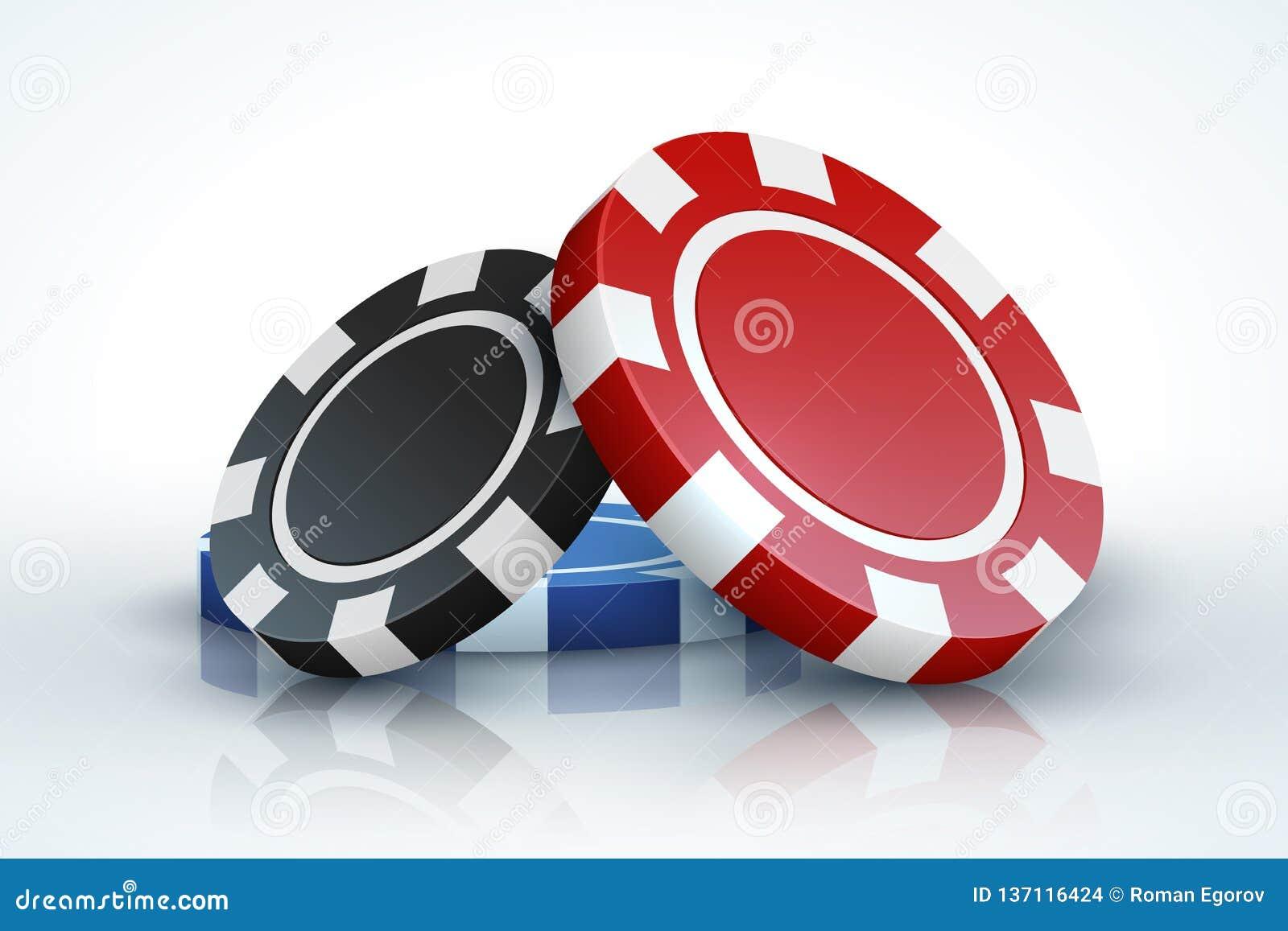 Microplaqueta de pôquer Casino que joga as microplaquetas 3D de jogo realísticas isoladas no conceito branco, em linha do jogo do