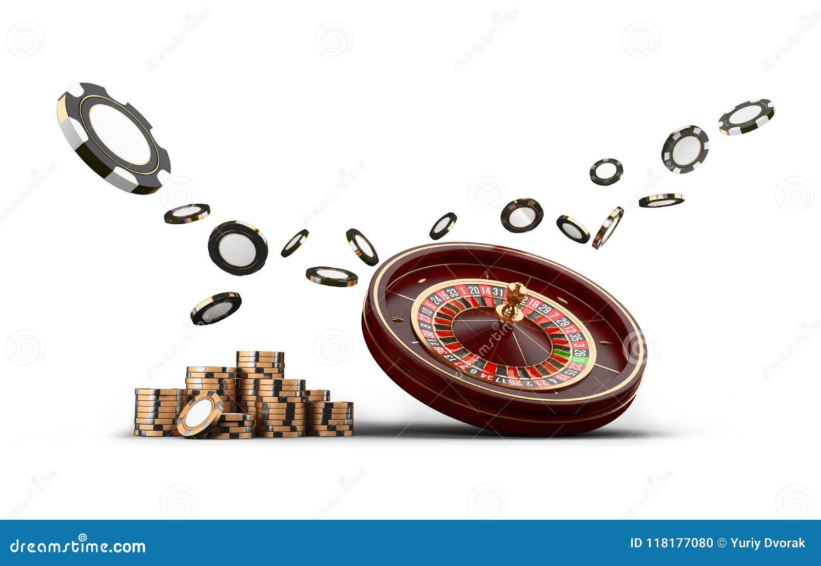 Microplaquetas da roda de roleta do casino isoladas no branco Microplaquetas do jogo 3D do casino Bandeira em linha do casino Mic