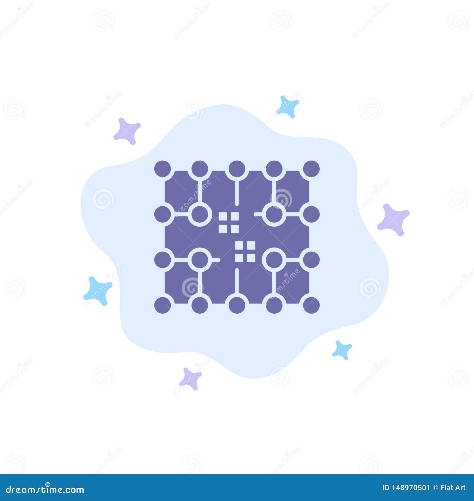 Microprocesador, conexión, electricidad, rejilla, icono azul material en fondo abstracto de la nube