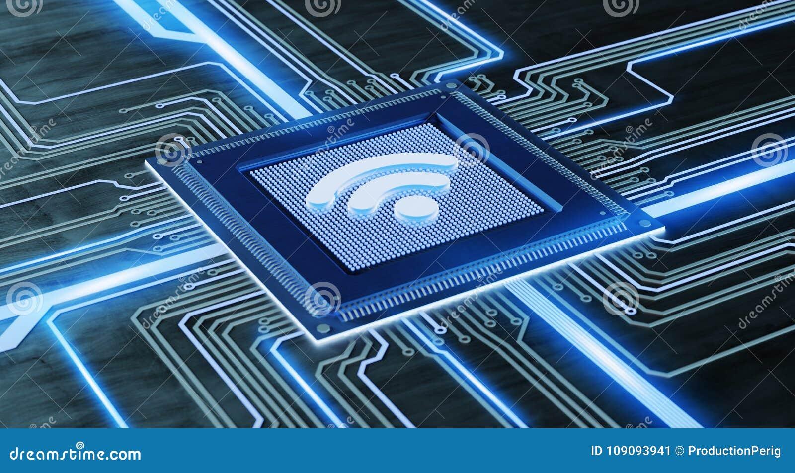 Circuito Wifi : Microprocesador de procesador de la cpu con una conexión del