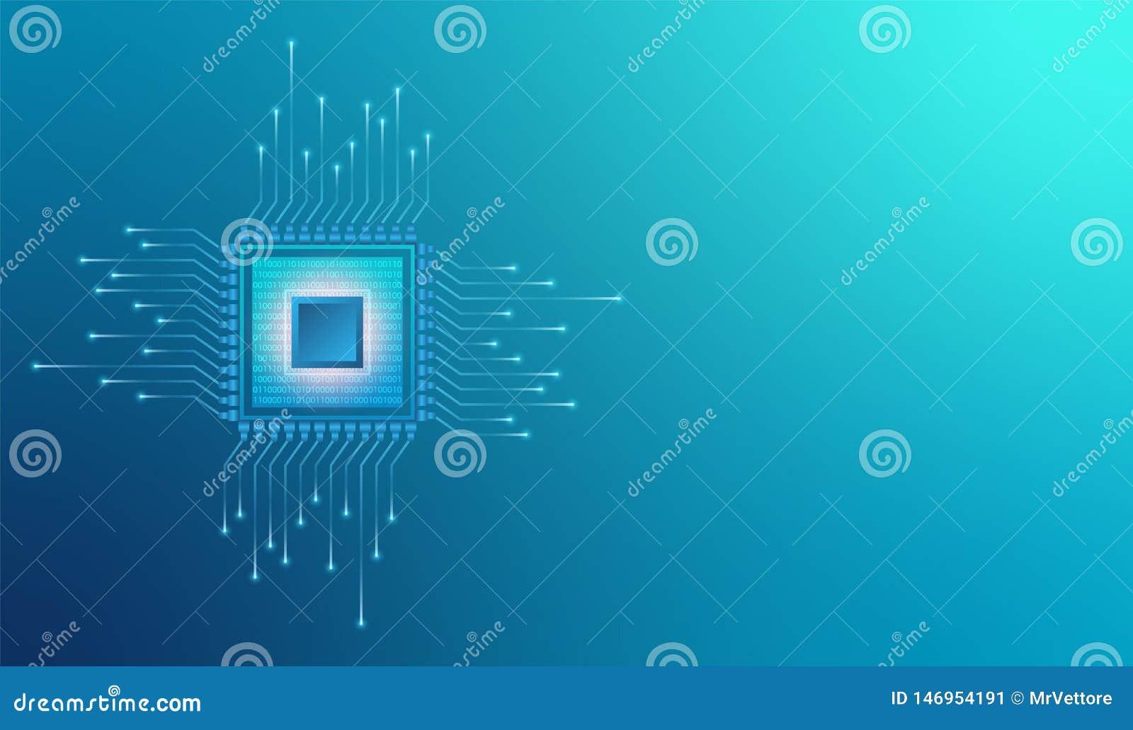 Microprocesador del sistema de procesador de la CPU del ordenador Los datos abstractos flujo c?digo binario en microchip de la ba