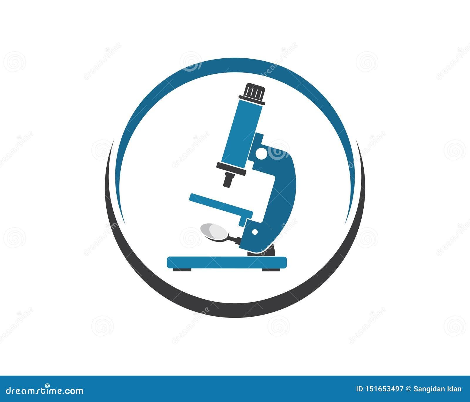 Microscope Logo Icon Vector Illustration Design Stock