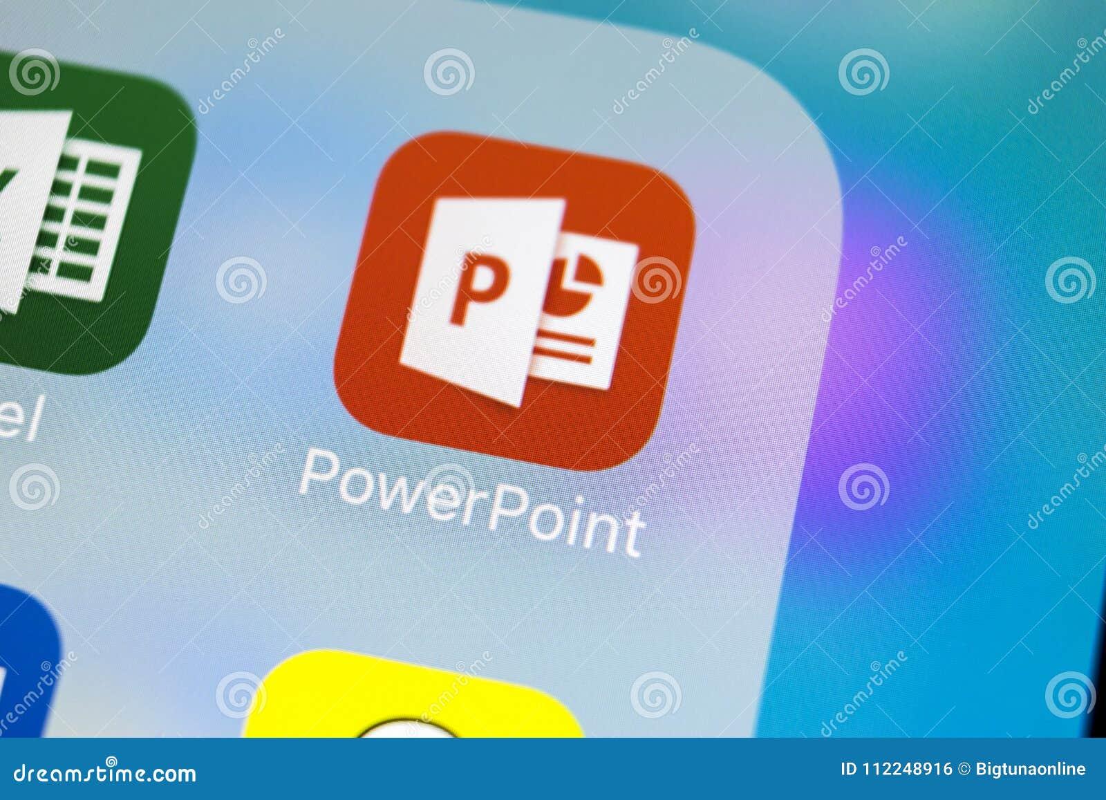 Microsoft-de toepassingspictogram van bureaupower point op Apple-iPhone X het schermclose-up Het pictogram van PowerPoint app Mic