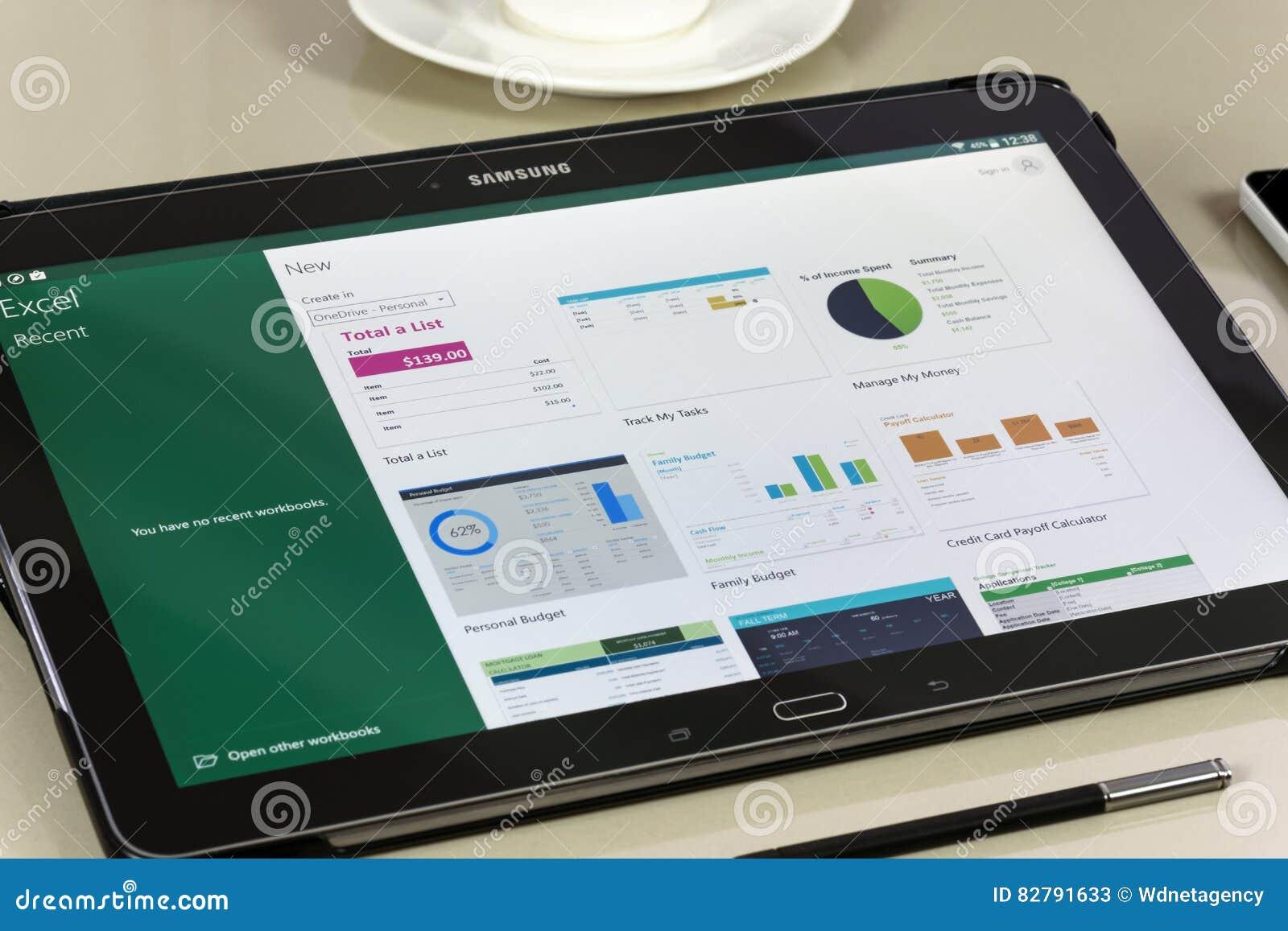 Microsoft Office Excel app en la tableta de Samsung
