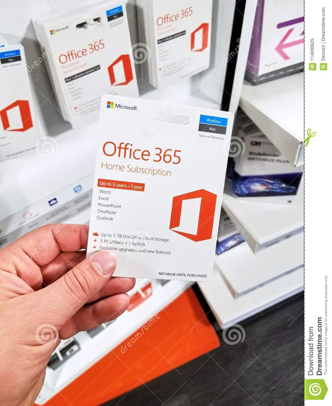 MIcrosoft Office 365 Home Subscribtion Card Editorial Image - Image ...