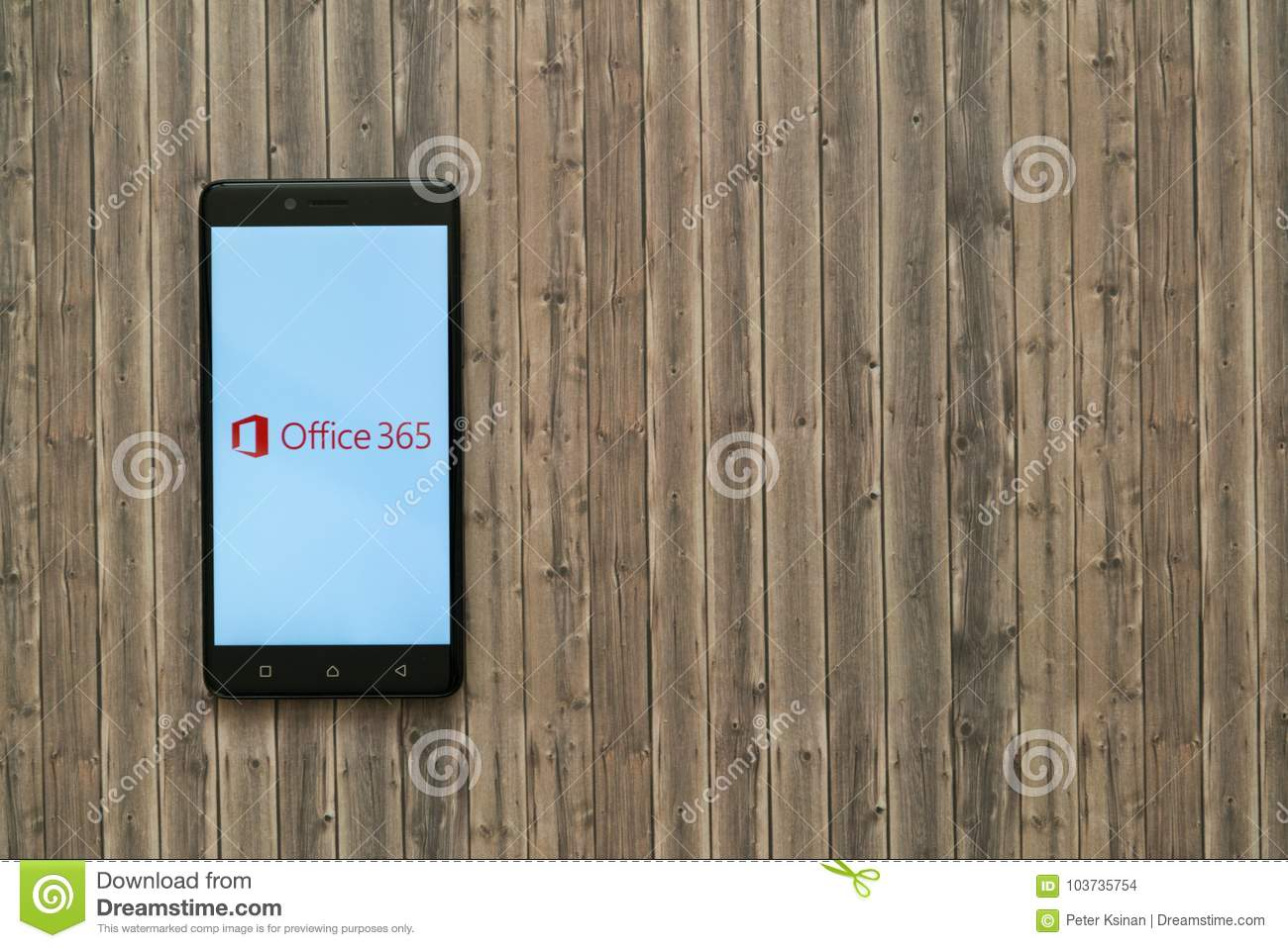 Microsoft Office 365 Logo On Smartphone Screen On Wooden