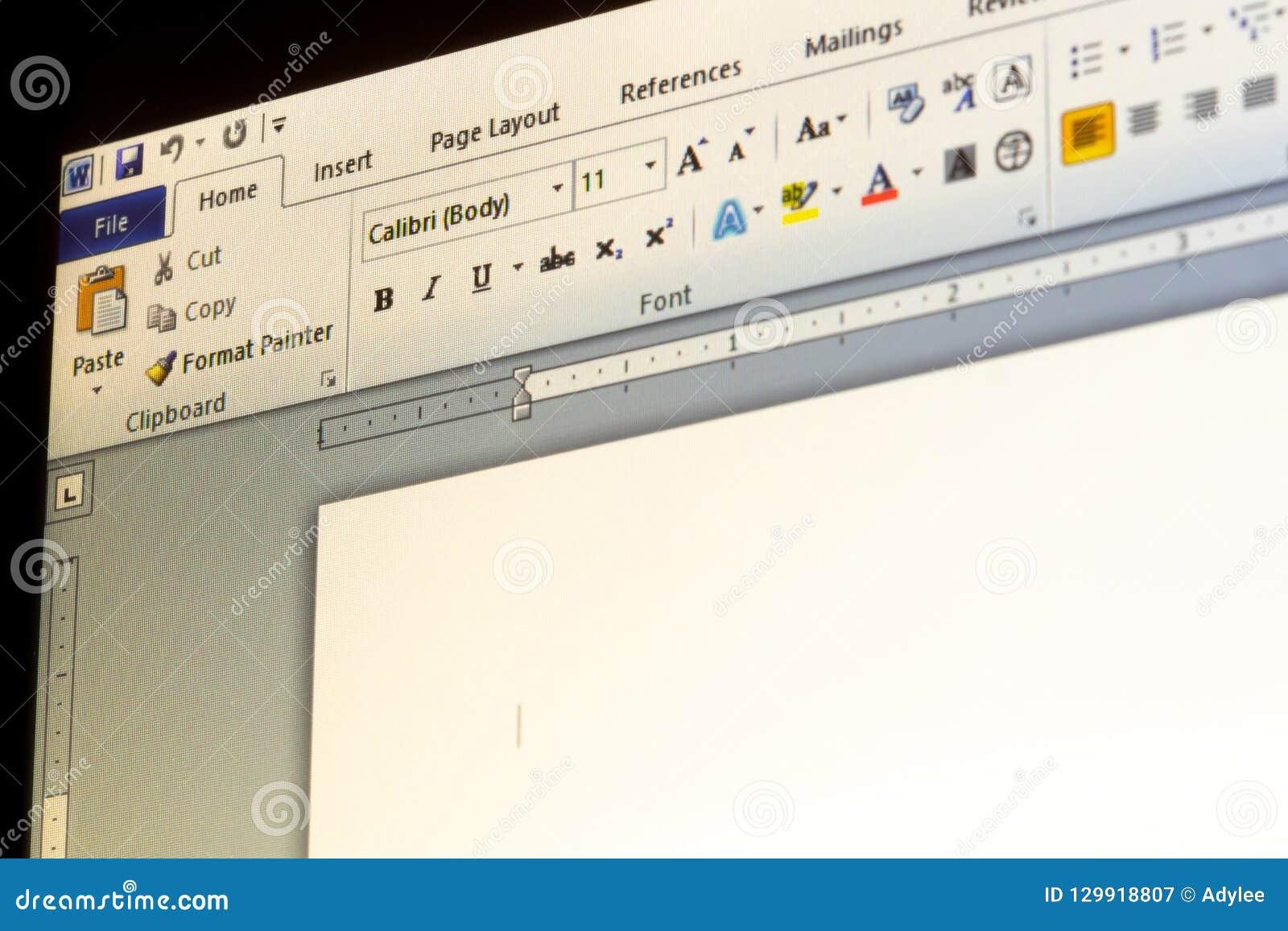 Microsoft Office słowa zastosowania menu