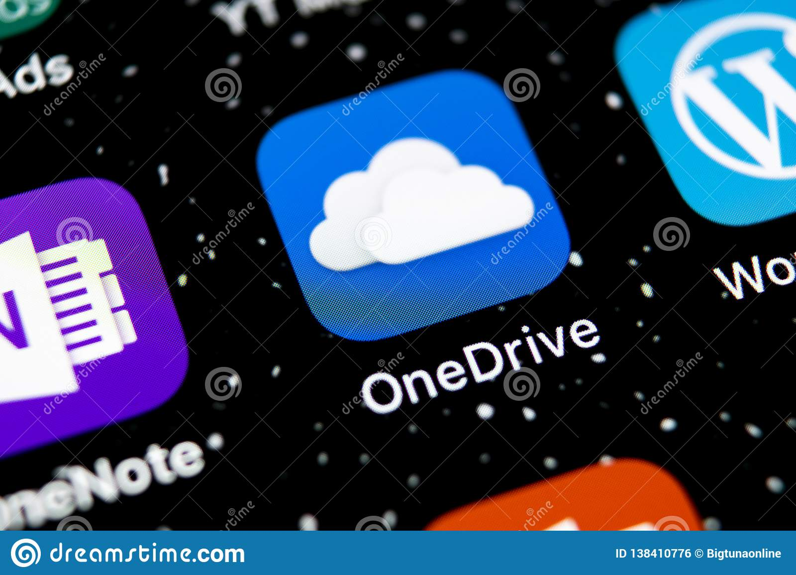 Microsoft OneDrive Application Icon On Apple IPhone X Screen Close