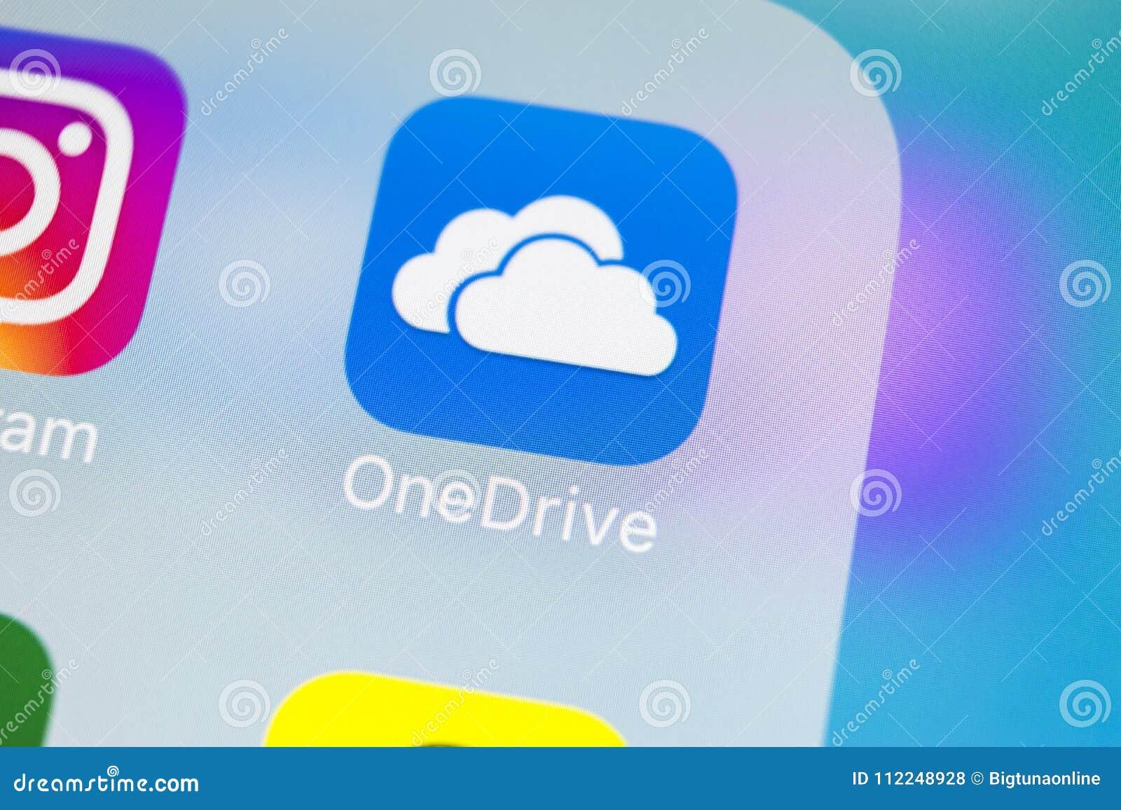Microsoft OneDrive Application Icon On Apple IPhone X Screen Close