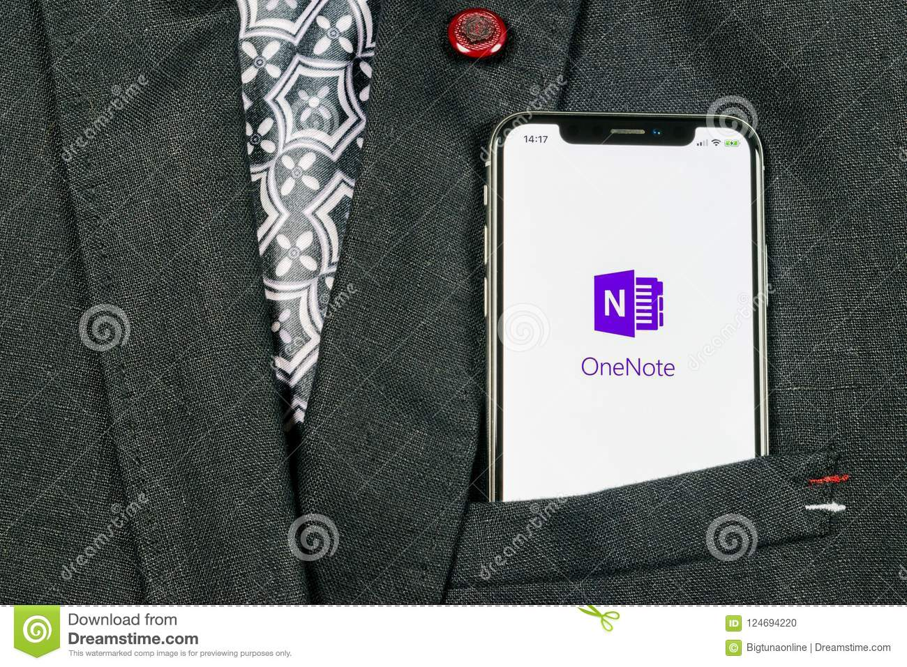 Microsoft OneNote Office Application Icon On Apple IPhone X Screen
