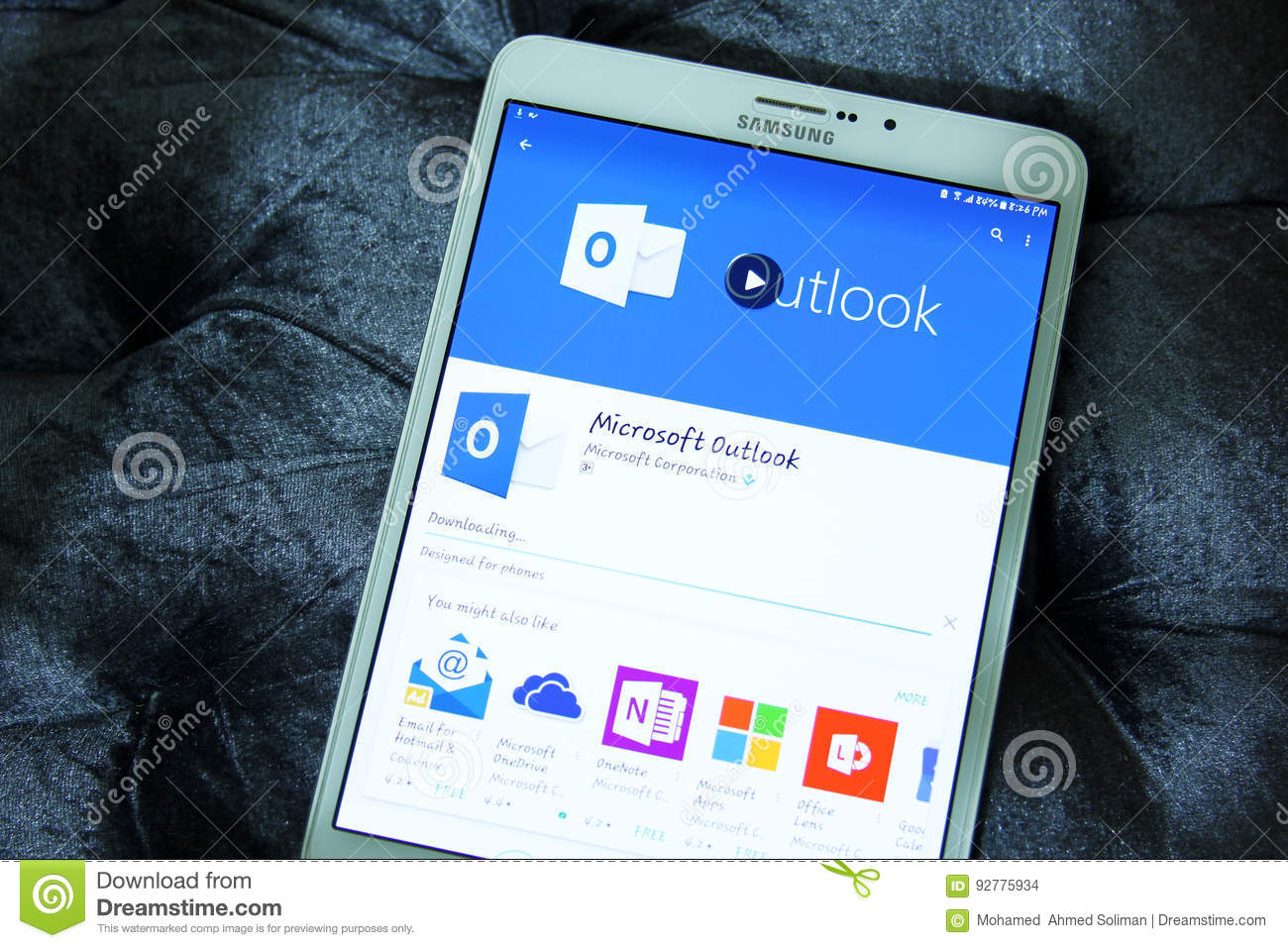 Microsoft outlook app editorial stock image  Image of