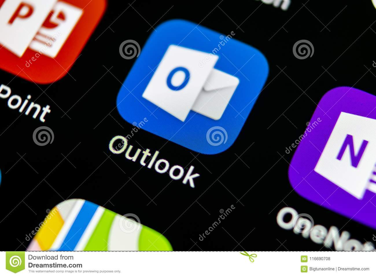 Microsoft Outlook Office Application Icon On Apple Iphone X Screen