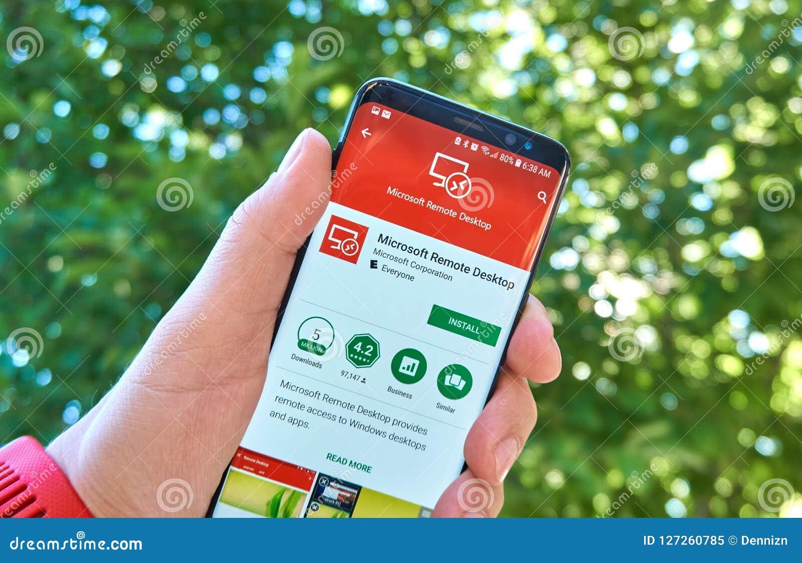 Microsoft Remote Desktop Mobile App On Samsung S8  Editorial