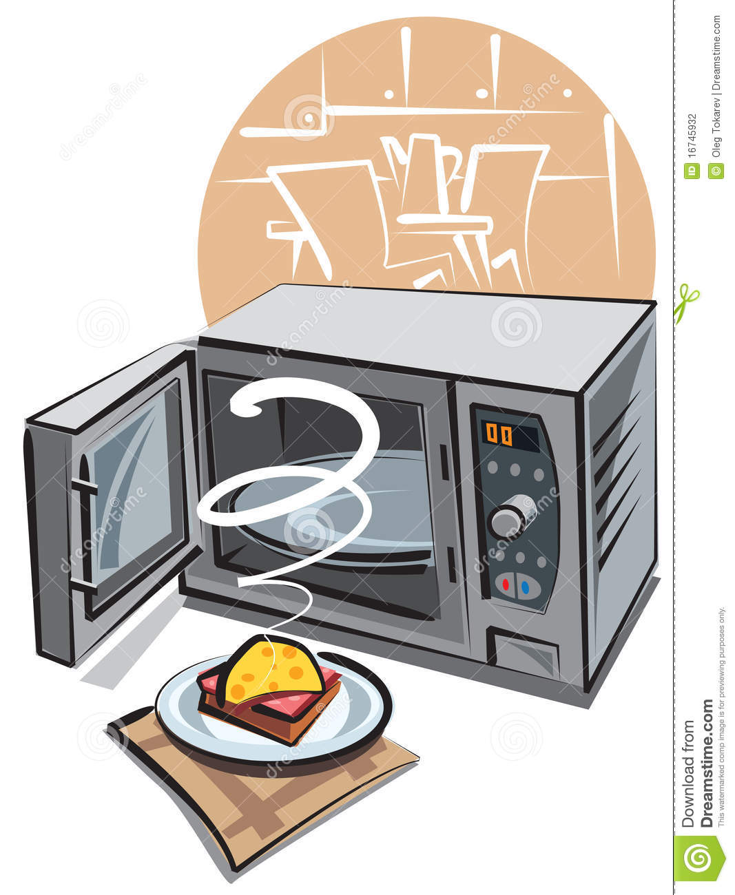 Open microwave and hot sandwich on the napkin.
