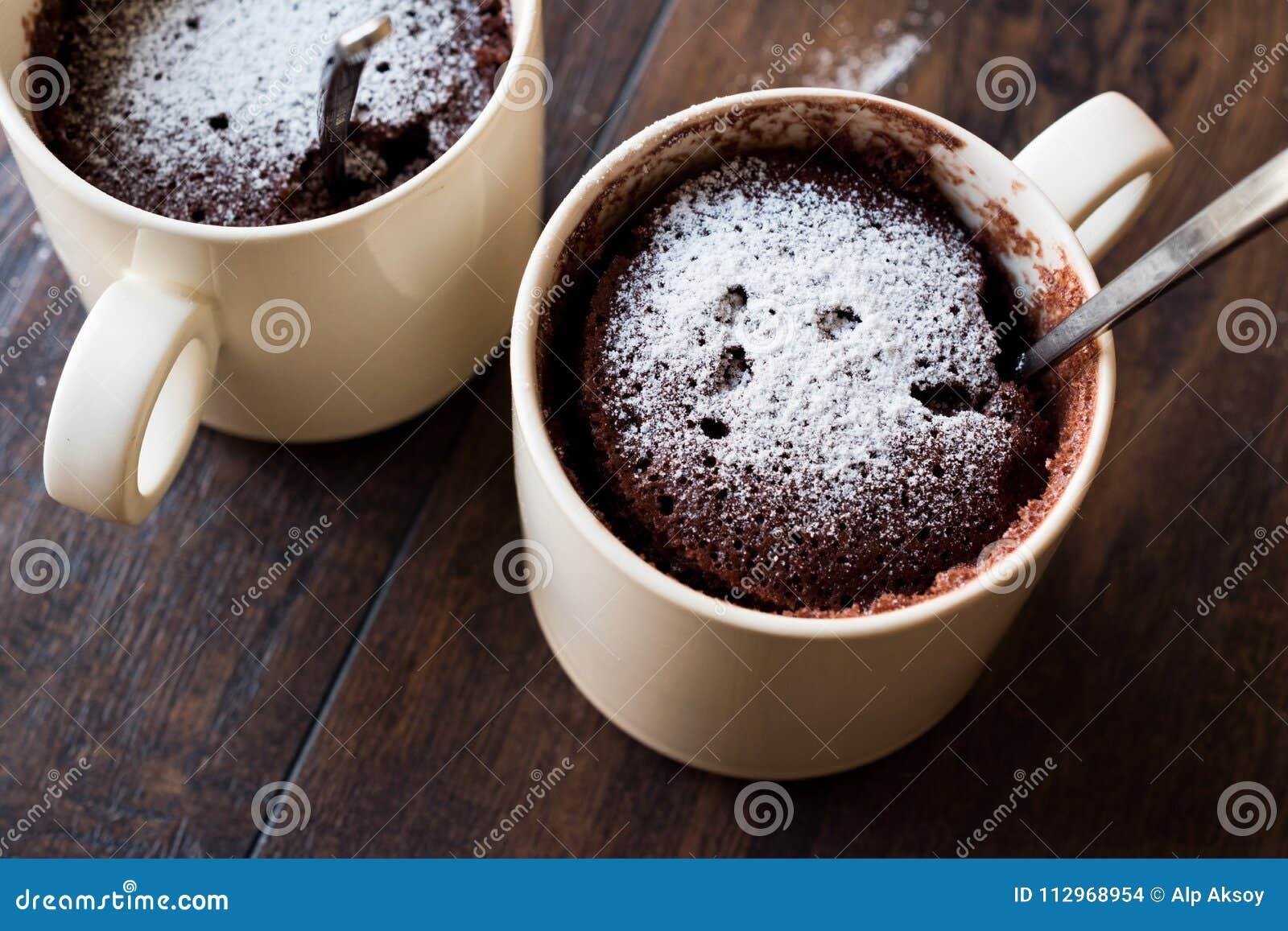Microwave Brownie Chocolate Mug Cake With Powder Sugar On Dark Wooden Surface Stock Photo Image Of Snack Bakery 112968954