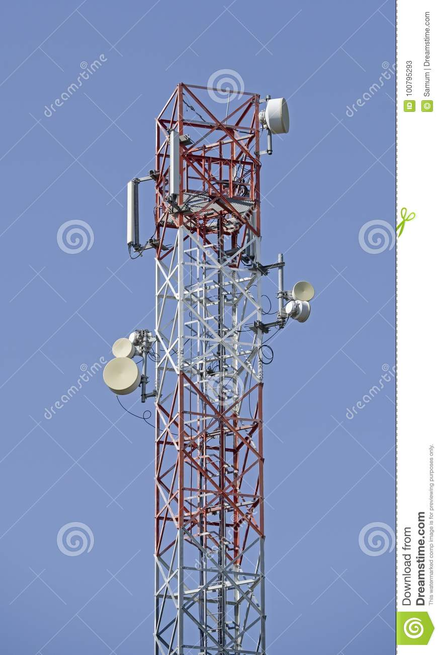 Microwave And Cellular Tower Stock Image - Image of cellular