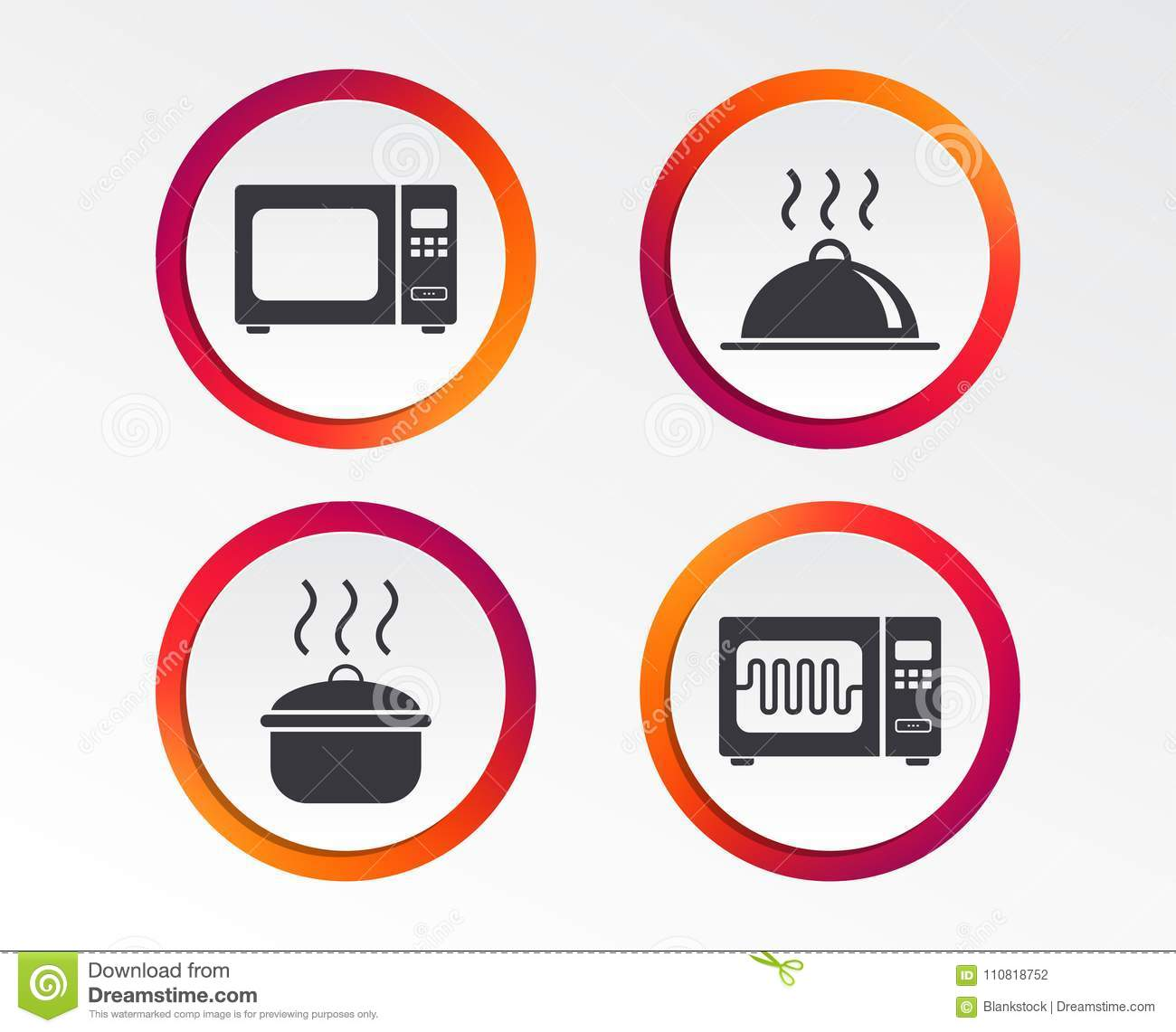 Microwave Oven Icon Cooking Pan Food Serving Stock Vector