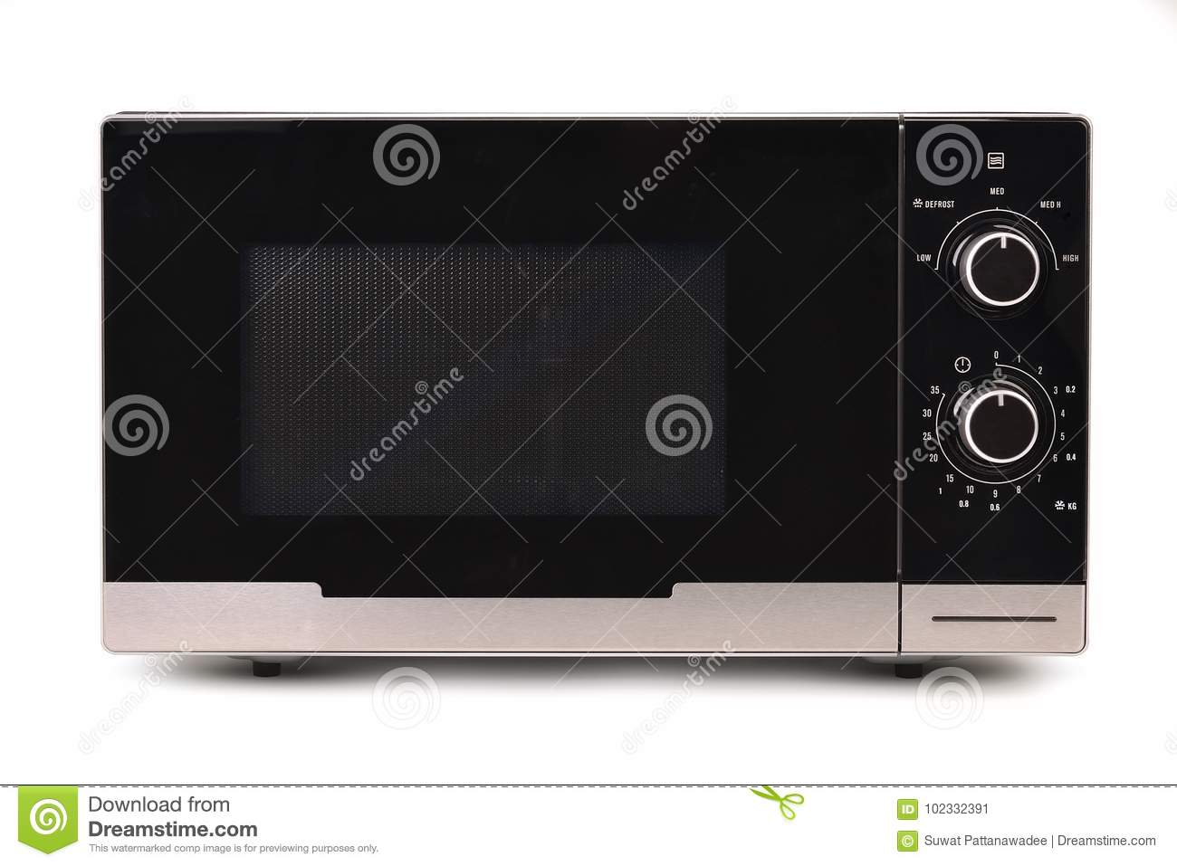 Microwave on white background