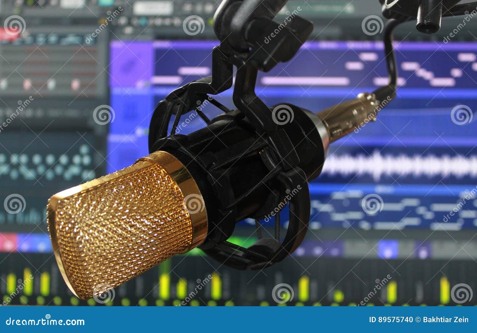 Mictophone rozsądnego pisaka kondensatorowy studio z oprogramowaniem w ekranie komputerowym behind