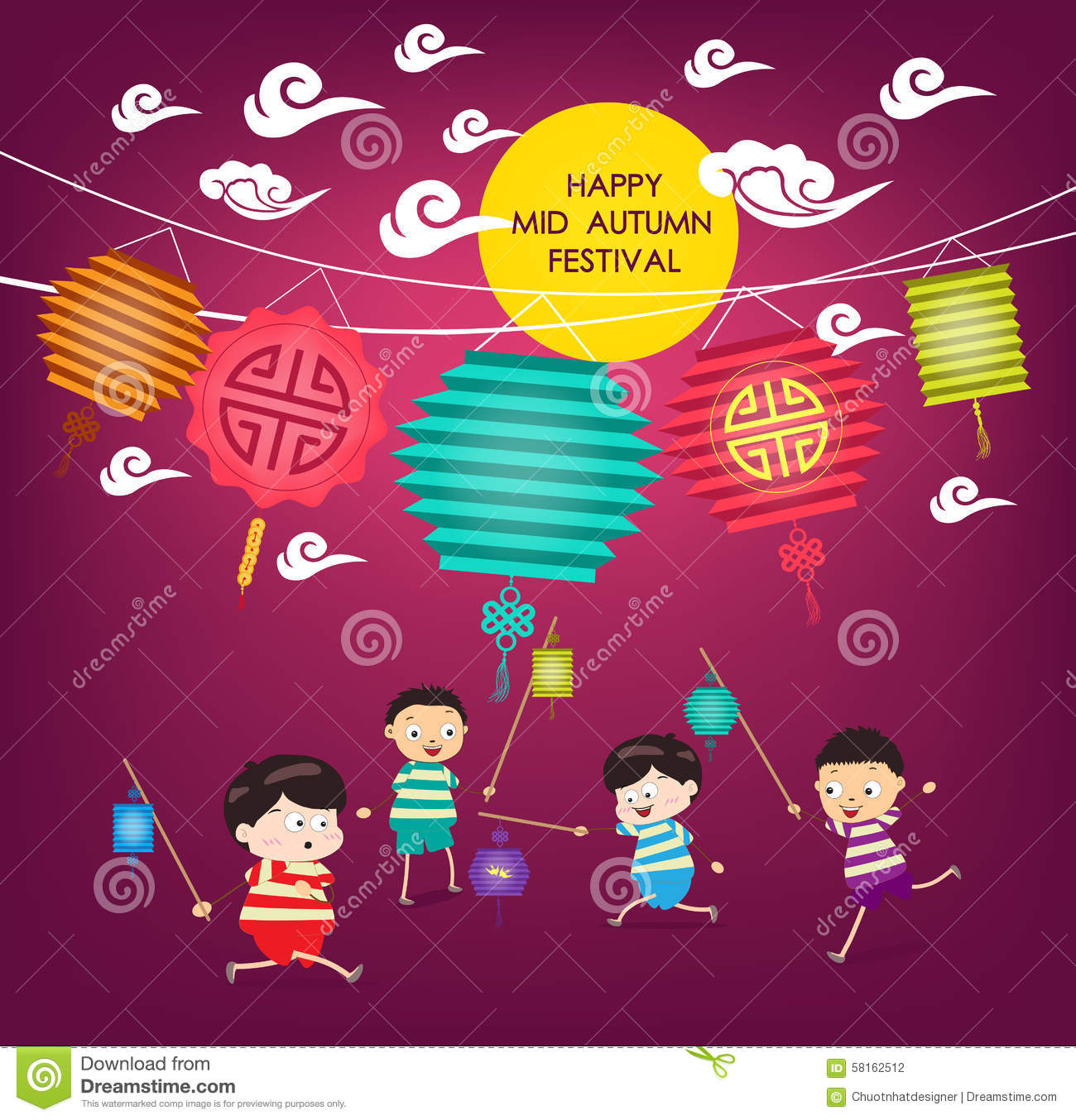Mid autumn festival background with happy kids playing lanterns royalty free vector download mid autumn toneelgroepblik Image collections