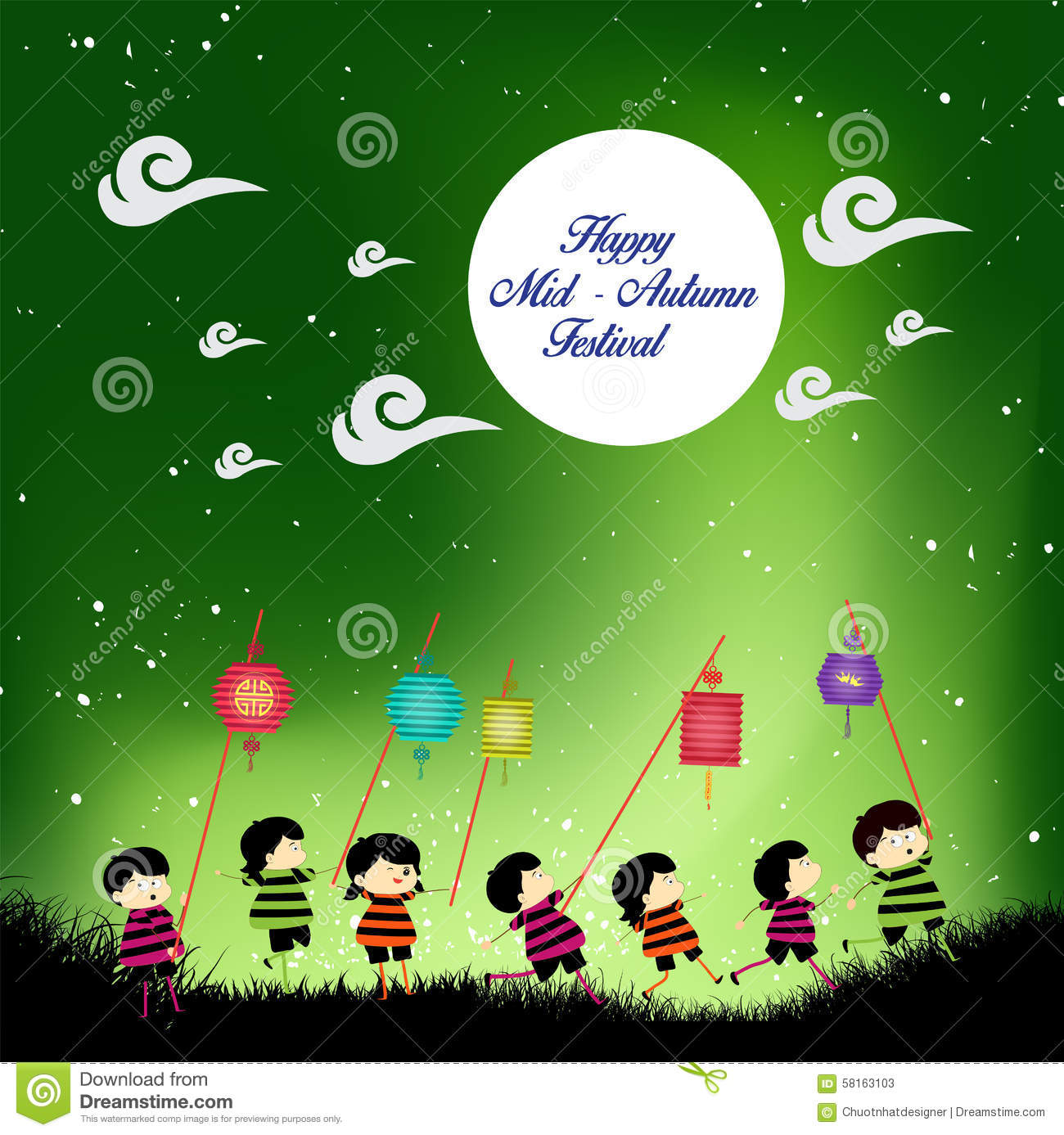 Mid autumn festival background with kids playing lanterns stock royalty free vector download mid autumn toneelgroepblik Image collections